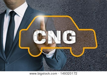 Cng Auto Touchscreen Is Operated By Businessman Concept