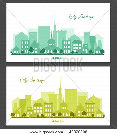 Flat colorful city landscapes set. Greeting card or invitation with place for text. Urban background for card horizontal banner presentation template bag real estate. Town vector illustration.