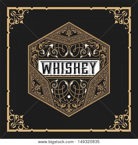 Whiskey label with old frame