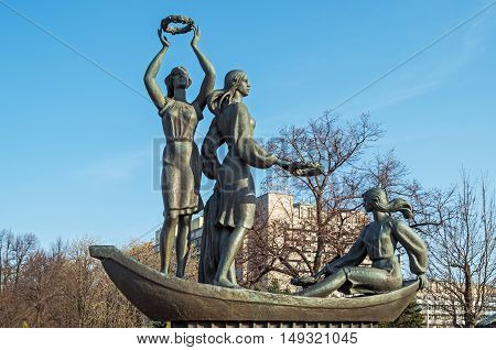 Dnepropetrovsk Ukraine - April 07 2016: Sculpture composition Youth of the Dnieper on embankment of Dnieper river in Dnepropetrovsk. The monument was opened in 2005