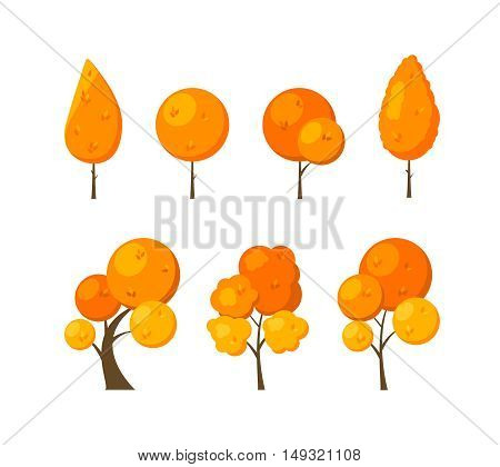 Set of icons flat autumn trees isolated on white background. Elements of green forest park or garden for city decoration. Natural objects for the game. Vector illustration.