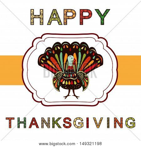 Thanksgiving day Beautiful colorful ethnic turkey bird label.Thanksgiving day painting hand draw.