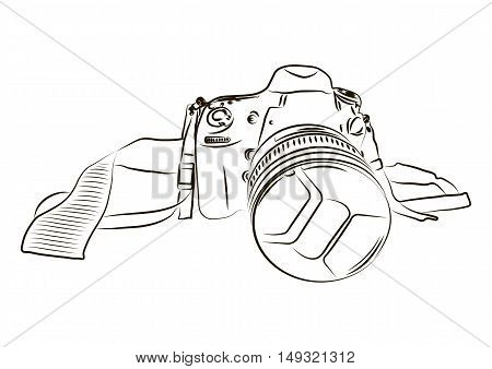 Black camera sketch on a white background. Vector illustration.