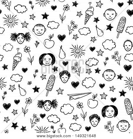 Seamless pattern with children, flowers, sun, stars. Vector background. Doodle drawing.