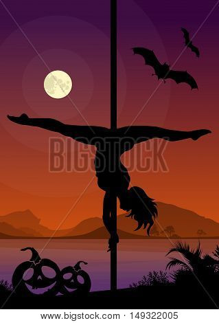 Black vector silhouette of female pole dancer performing pole moves in front of river landscape and full moon at Halloween night
