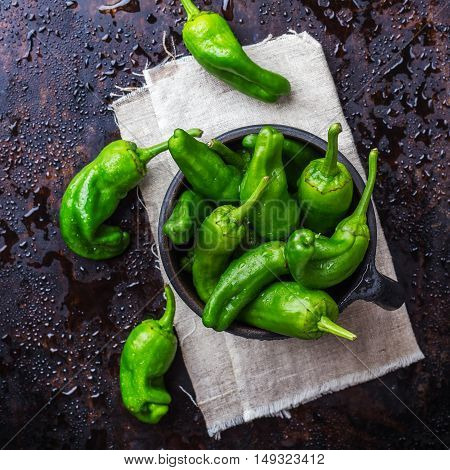 Food and drink, still life, moody concept. Raw green peppers pimientos de padron mexican jalapeno traditional spanish tapas on a black rusty table. Selective focus top view flat lay overhead