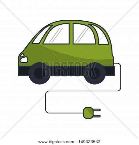 Eco car with plug icon. Ecology renewable energy and conservation theme. Isolated design. Vector illustration