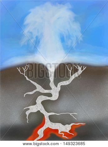 Hot spring vector illustration set hot land