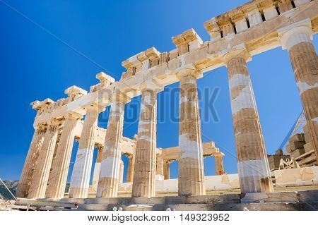 Fragment of the Parthenon, an archaic temple located on the Acropolis of Athens, built in 438 BC. Taken in Athens, Greece.