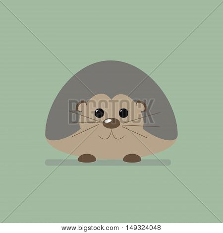 Wild animal hedgehod. Isolated vector illustration of a flat