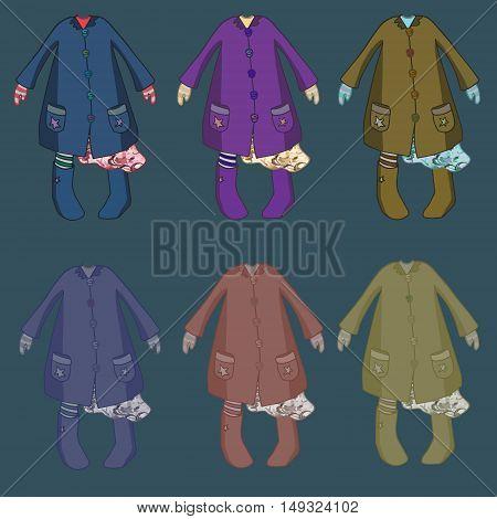 Kids girl dresses illustration clothing vector style