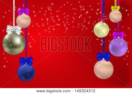 Christmas red background with Christmas balls bows and ribbon