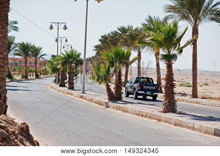Hurghada, Egypt -20 August 2016: Toyota Pickup Car With Egypt License Plate