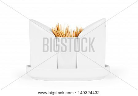 salt and pepper shakers on a white background together with toothpicks. concept Restaurant