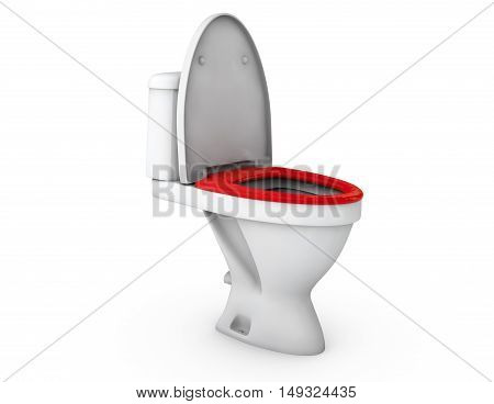 Toilet bowl with the closed seat. 3d render