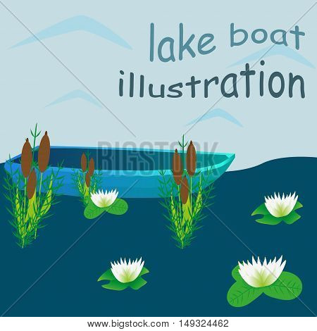 Lake boat plants water cartoon vector illustration