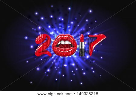 2017 year, woman things. Red glossy lips of open mouth, makeup lipstick, high heels shoes on background of abstract light, bright flash, explosion or burst