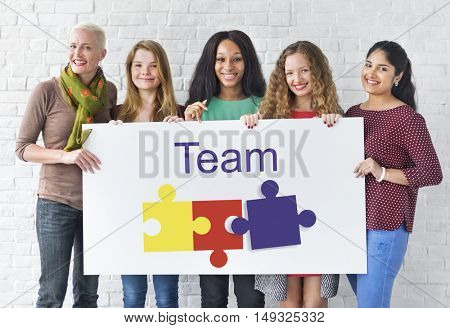 Jigsaw Puzzle Team Building Support Graphic Concept