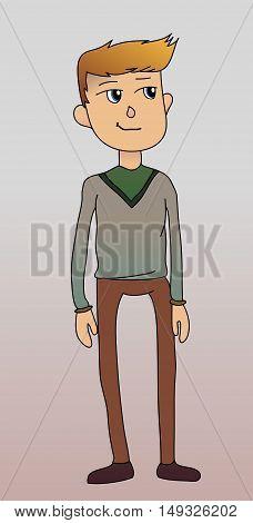 Man in cardigan vector illustration blonde casual