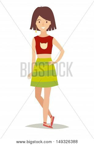 Happy fashionable girl in a skirt. Daughter standing isolated on white background. Young hipster people cartoon design. Little kid flat vector illustration