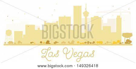 Las Vegas City skyline golden silhouette. Vector illustration. Simple flat concept for tourism presentation, banner, placard or web site. Business travel concept. Cityscape with landmarks