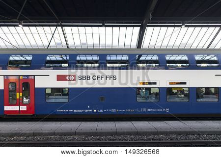 SWISS FEDERAL RAILWAYS, SWIZERLAND - Sep 12: Swiss Federal Railways in Switzerland on Sep 12, 2016. SBB in German, CFF in French and FFS in Italian is Switzerland's biggest transport company.