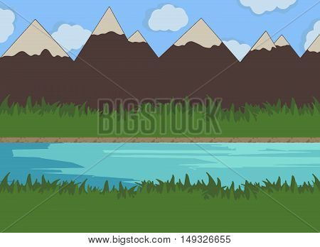 Nature river vector illustration outside panorama peaceful