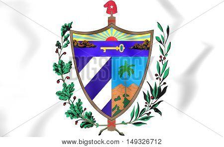 Cuba Coat of Arms. 3D Illustration. Close Up.