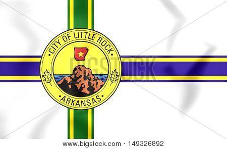 3D Flag Of Little Rock (arkansas), Usa. 3D Illustration.