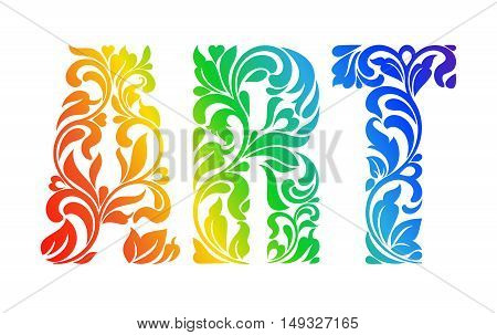 Multicolor Painted Word Art. Decorative Font With Swirls And Floral Elements.