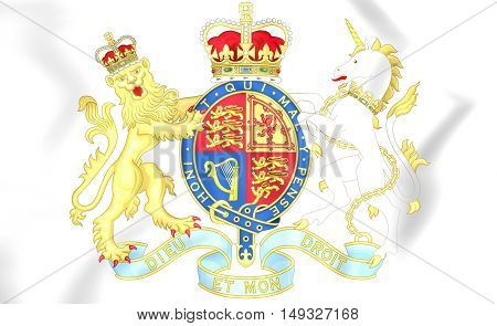 Royal Coat Of Arms Of United Kingdom. 3D Illustration.