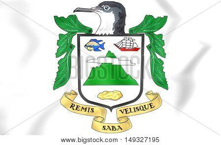 Saba Coat of Arms. 3D Illustration. Close Up.