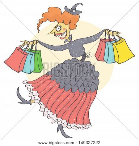 Cartoon witch dancing and jumping with shopping bags in her hands. Vector illustration of witch with shopping bags for Halloween sale.