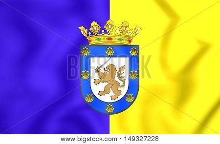 3D Flag Of Santiago De Chile, Chile. 3D Illustration.