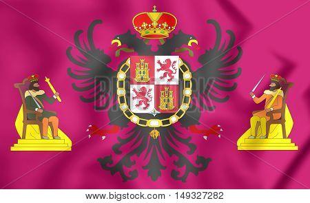 3D Flag Of Toledo City, Spain. 3D Illustration.