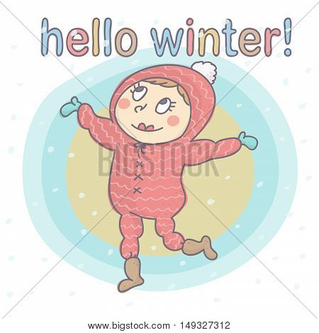 Cute, adorable girl in pink ski suit with snowflakes falling on her. Vector drawing with child happiness because of snow.