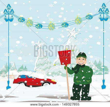Man shoveling snow from street in winter , vector illustration