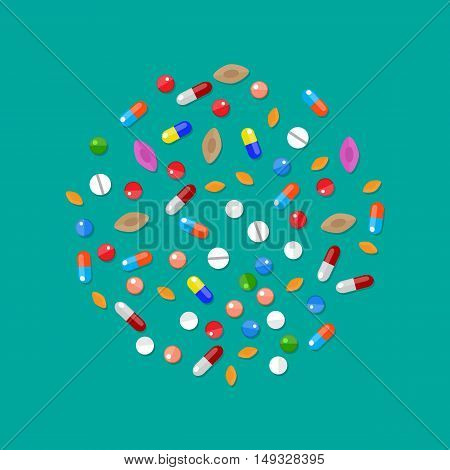 Different colorful medical pills capsules and tablets in circle. Medications collection. vector illustration in flat style