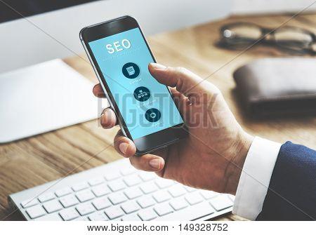 SEO Website Development Data Network Concept