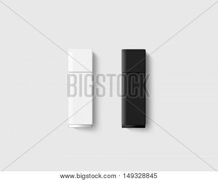 Blank usb drive design mock up set black white 3d rendering clipping path. Clear plastic flash disk template closed cap. Plain memory device mockup. Clean pen drive branding presentation.