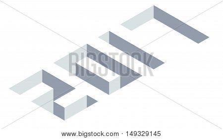 Isometric number 2017 on white New Year illustration