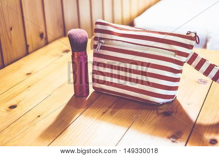 Vintage Filter, Cosmetic Bag On Wooden Table