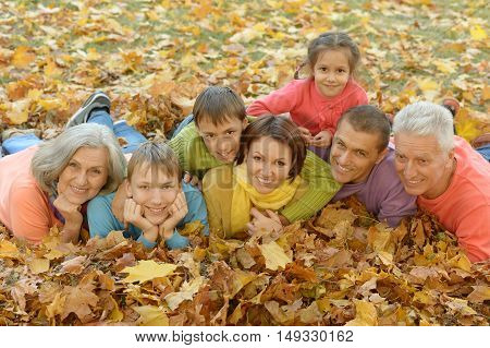 Portrait of a big family in autumn park