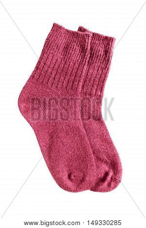 Red wool knitted socks isolated over white