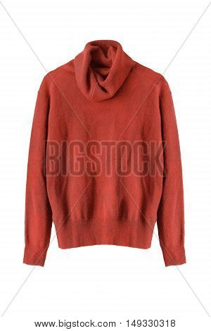 Terracotta cashmere sweater isolated on white background