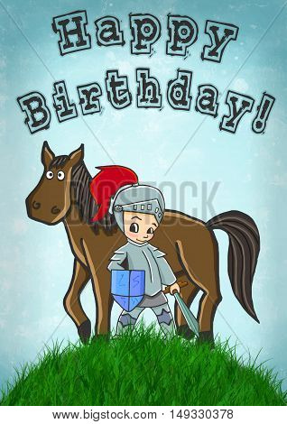 horse and knight happy birthday card vector illustration