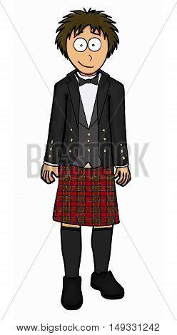 Man in scottish kilt vector illustration set