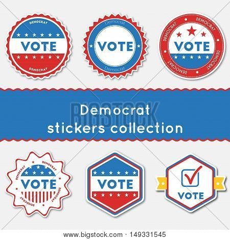 Democrat Stickers Collection. Buttons Set For Usa Presidential Elections 2016. Collection Of Blue An