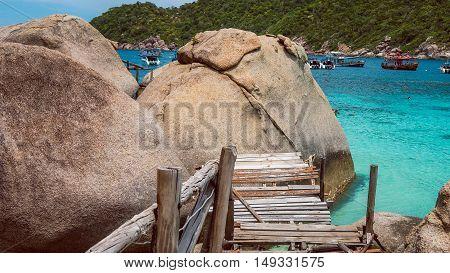 Old Wooded Path to Big Granit Rocks of Koh Nang Yuan, Beautiful island, near KohTao, Thailand.