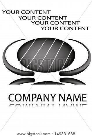 logo, black arc, company name - vector illustration